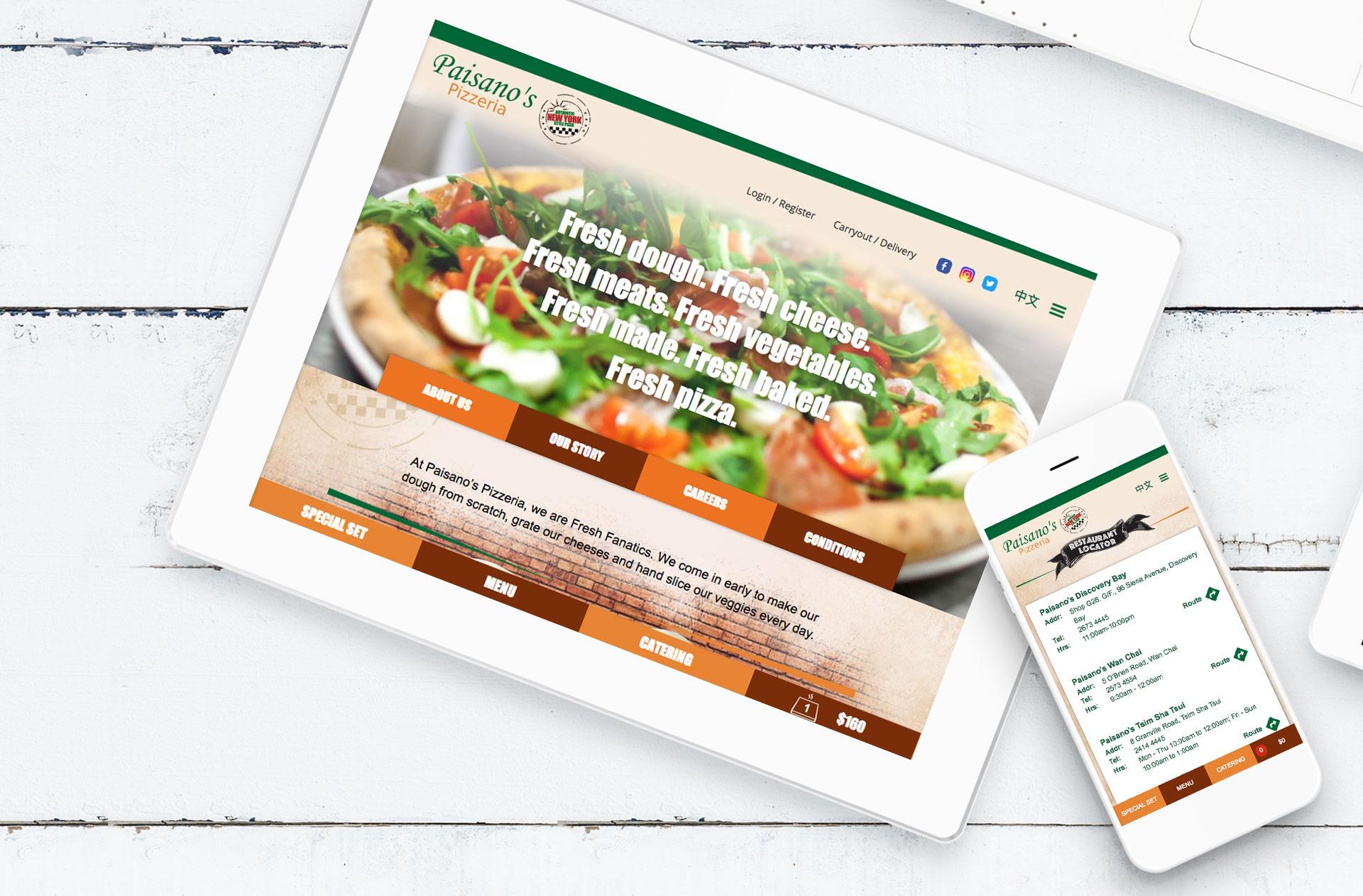 Web Design Paisano's Pizzeria