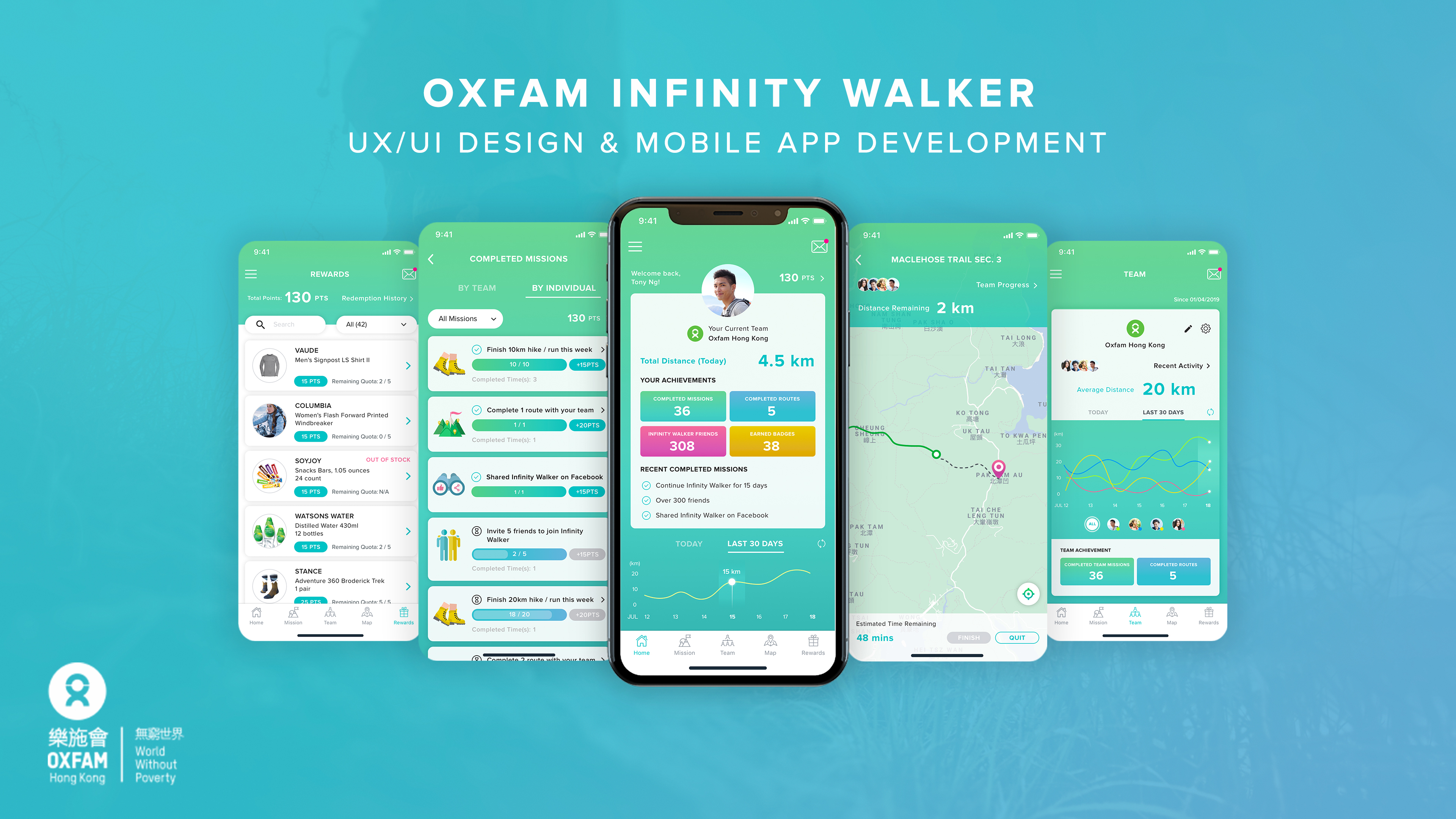 Oxfam Infinity Walker Gamification Mobile App